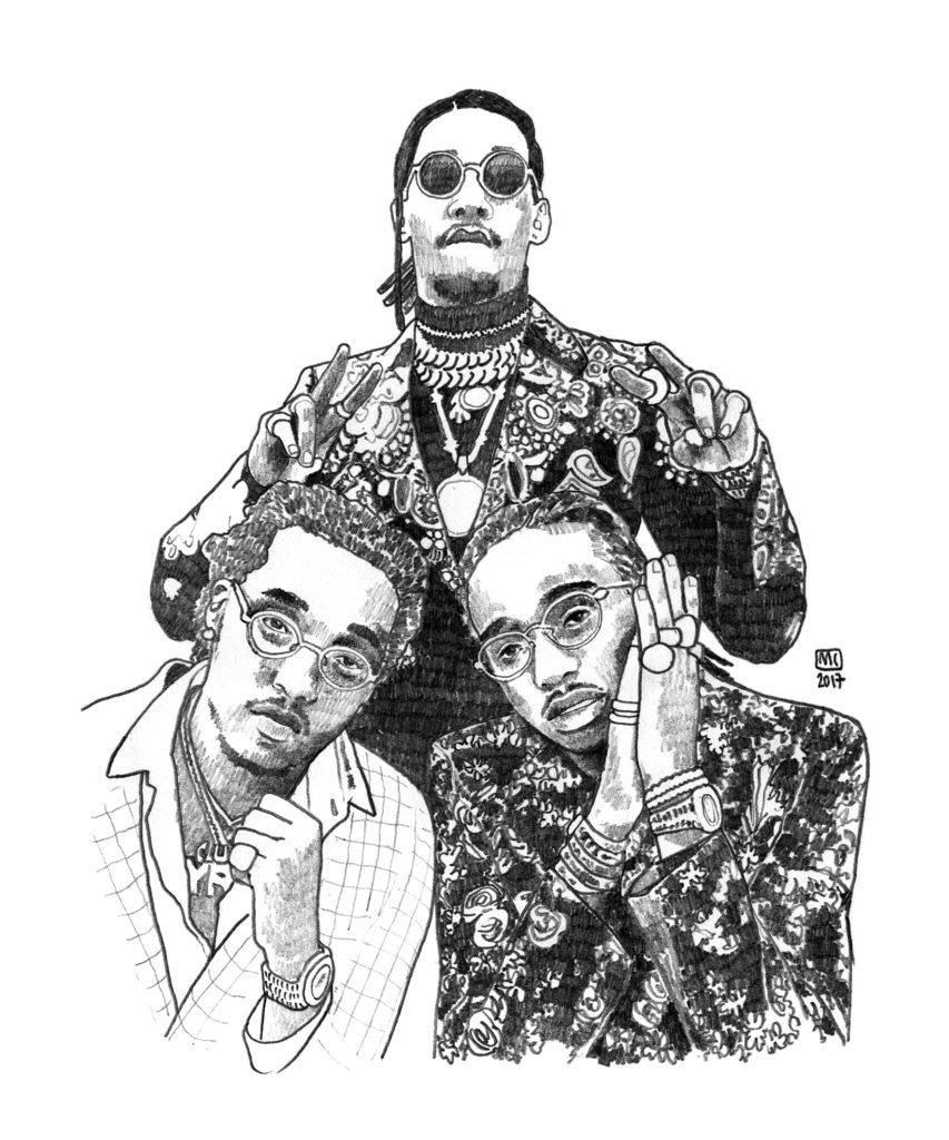 Migos, triumvirat dessiné par Marie Casaÿs pour L'Escamoteur.