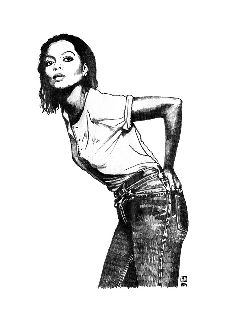Diana Ross, diva dessinée par Marie Casaÿs pour L'Escamoteur.
