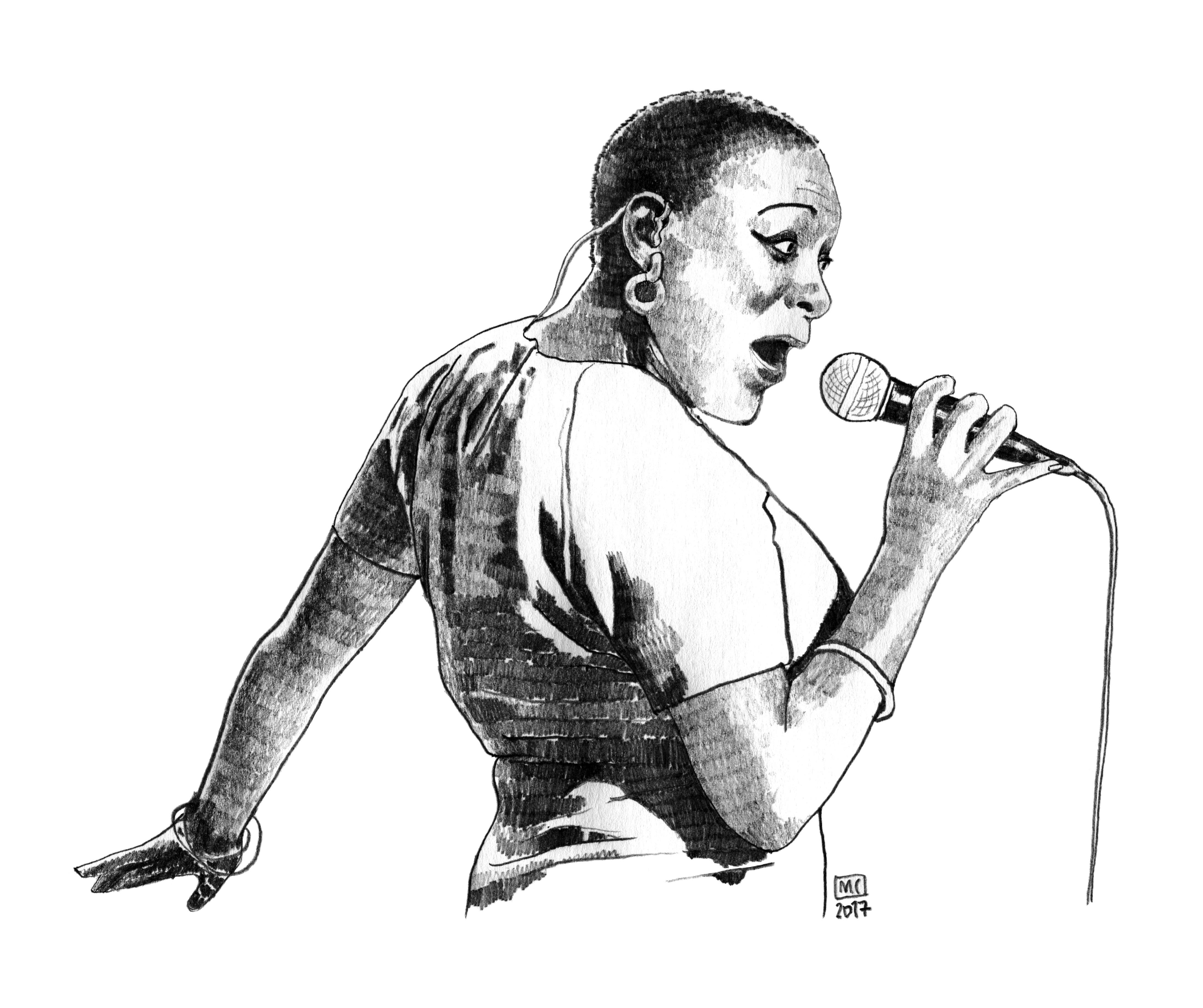 Sharon Jones, un dessin de Marie Casaÿs pour L'Escamoteur
